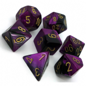 Black & Purple Gemini Polyhedral 7 Dice Set
